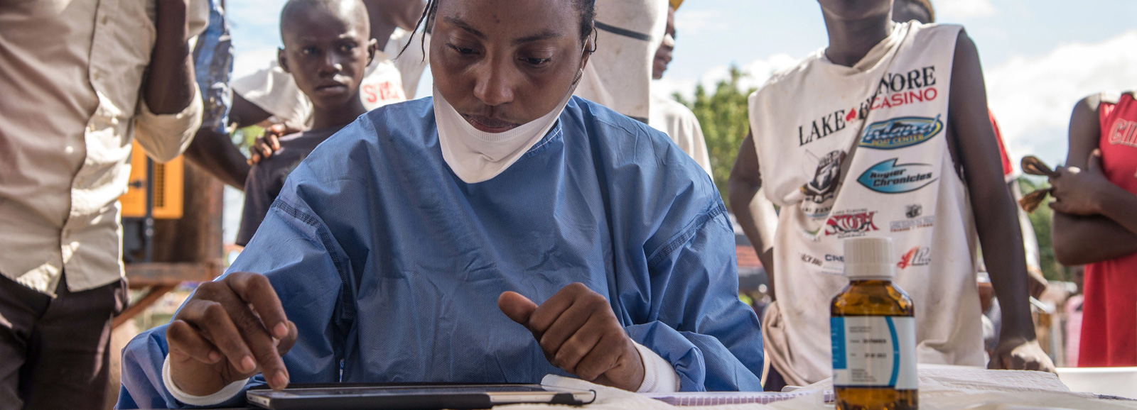Nurses working with the World Health Organization prepare to administer vaccines in Mbandaka, the Democratic Republic of the Congo, during the launch of the 2018 Ebola vaccination campaign.